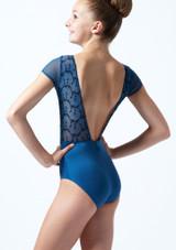 Maillot bordado con mangas cortas para joven Ballet Rosa Azul  Detrás-1T [Azul ]