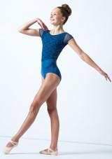 Maillot bordado con mangas cortas para joven Ballet Rosa Azul  Delante-1 [Azul ]
