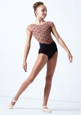 Maillot bordado con mangas cortas para joven Ballet Rosa Caramelo  Delante-1 [Caramelo ]