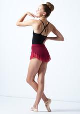 Falda de malla con cinturilla para joven Ballet Rosa Rojo  Detrás-1 [Rojo ]