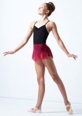 Falda de malla con cinturilla para joven Ballet Rosa Rojo  Delante-1 [Rojo ]