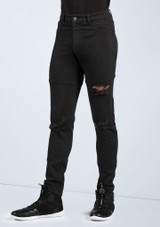 Boys Ripped Jeggings [Negro]
