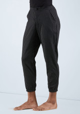 Boys Cropped Pinstripe Pants [Negro]