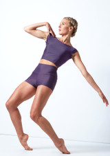 Pantalones cortos de danza de cintura alta Maya Move Dance Grape  Delante-1 [Grape ]
