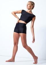 Pantalones cortos de danza de cintura alta Maya Move Dance Negro  Delante-1 [Negro ]