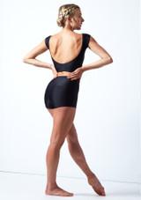 Pantalones cortos de danza de cintura alta Maya Move Dance Negro  Detrás-1 [Negro ]