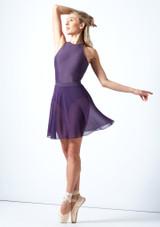 Falda de danza cruzada floral Move Dance - Azul Violeta  Detrás-1 [Violeta ]