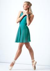 Falda de danza cruzada floral Move Dance - Azul Verde  Detrás-1 [Verde ]
