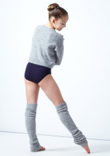 Felpa per ragazze con scollo a V lavorata a maglia Louisa Move Dance Gris  Detrás-1 [Gris ]