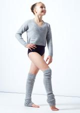 Felpa per ragazze con scollo a V lavorata a maglia Louisa Move Dance Gris  Delante-1 [Gris ]