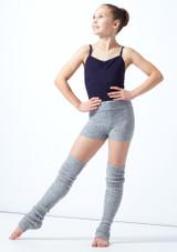 Pantaloncini danza per ragazze lavorati a maglia arrotolabili Isabella Move Dance Gris  Delante-2 [Gris ]