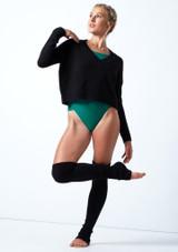 Felpa con scollo a V lavorata a maglia Madeline Move Dance Negro  Delante-1 [Negro ]