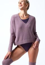 Felpa con scollo a V lavorata a maglia Madeline Move Dance Violeta  Delante-1T [Violeta ]