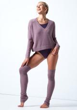 Felpa con scollo a V lavorata a maglia Madeline Move Dance Violeta  Delante-1 [Violeta ]