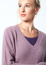 Felpa con scollo a V lavorata a maglia Madeline Move Dance Violeta  Detalle delantero-1 [Violeta ]