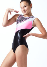 Maillot de gimnasia sin mangas a rayas Cascade Tappers & Pointers Hibiscus Delante-1T [Hibiscus]