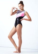 Maillot de gimnasia sin mangas a rayas Cascade Tappers & Pointers Hibiscus Delante-1 [Hibiscus]