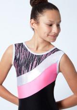 Maillot de gimnasia sin mangas a rayas Cascade Tappers & Pointers Hibiscus Detalle delantero-1 [Hibiscus]
