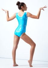 Maillot de gimnasia sin mangas Twister Tappers & Pointers Azul  Detrás-1 [Azul ]