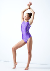 Maillot de gimnasia sin mangas Twister Tappers & Pointers Violeta  Delante-1 [Violeta ]