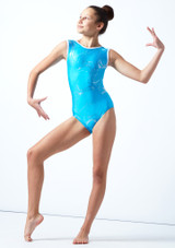 Maillot de gimnasia sin mangas Twister Tappers & Pointers Azul  Delante-1 [Azul ]