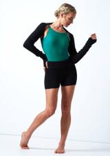 Pantalones cortos de danza de punto con cinturón enrollable Delilah Move Dance Negro  Delante-1 [Negro ]