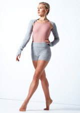 Pantalones cortos de danza de punto con cinturón enrollable Delilah Move Dance Gris  Delante-1 [Gris ]