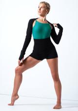 Pantalones cortos de danza de punto con cinturón enrollable Delilah Move Dance Negro  Delante-2 [Negro ]