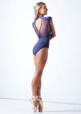 Maillot de malla con cuello alto de Mirella Azul Marino Detrás-1 [Azul Marino]
