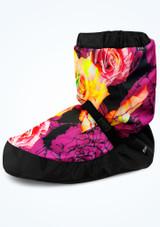 Botín de calentamiento con estampado floral Bloch - Violeta Violeta  Delante-1 [Violeta ]