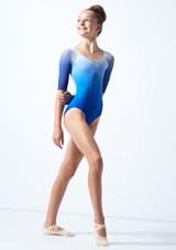 Maillot manga ¾ con degradado de color Ballet Rosa Azul  Delante-2 [Azul ]