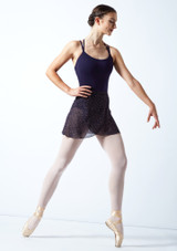 Falda de danza cruzada moteada Move Dance - Azul marino Negro  Delante-1 [Negro ]