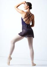 Falda de danza cruzada moteada Move Dance - Azul marino Negro  Detrás-1 [Negro ]