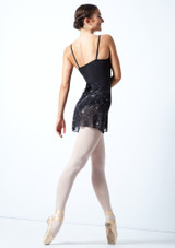 Falda de danza floral cruzada Move Dance - Negra Negro  Detrás-1 [Negro ]
