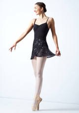 Falda de danza floral cruzada Move Dance - Negra Negro  Delante-1 [Negro ]