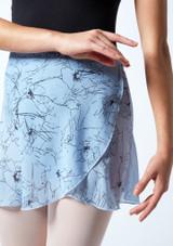 Falda de danza cruzada floral Move Dance - Azul Azul  Detalle delantero-1 [Azul ]