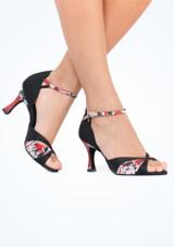 Zapatos de Baile Serpiente Sapphire Rummos 7cm Negro-Rojo #4. [Negro-Rojo]