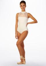 Maillot Ballet con Cuello Alto Anabelle So Danca Blanco frontal.