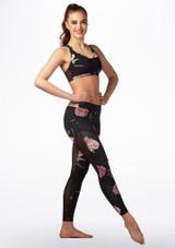 Mallas de danza con malla de lunares Capezio Negro-Rosa frontal.