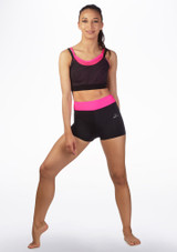 Culotes de danza fitness Dansez Negro-Rosa frontal.