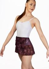 Falda de Ballet Abierta con Malla Floral Bloch Rojo frontal. [Rojo]