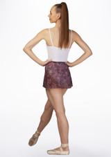 Falda de Ballet Abierta con Malla Floral Bloch Rojo trasera. [Rojo]