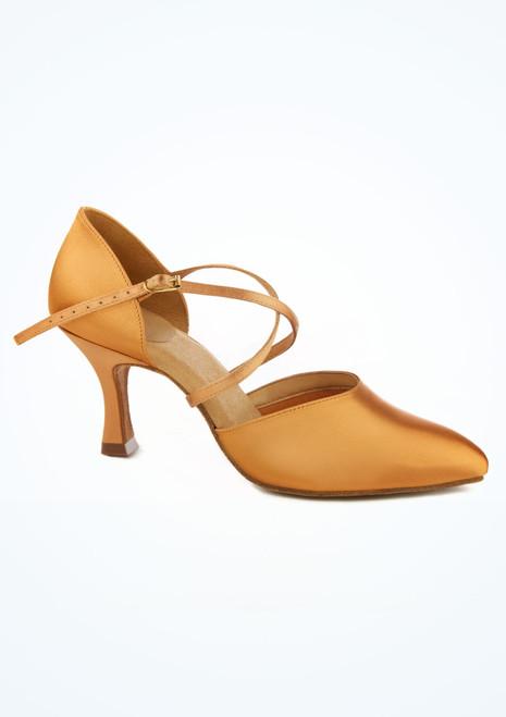 Zapato de danza Sirocco de raso con puntera cerrada 6,35 cm Ray Rose Carne Marrón Claro imagen principal. [Marrón Claro]