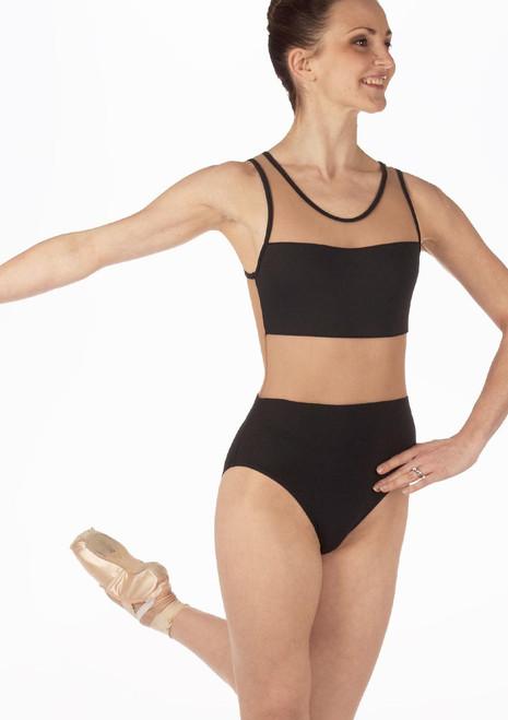 Maillot Ballet Recortado So Danca Negro. [Negro]