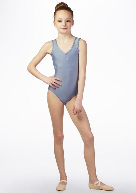 Maillot Ballet Chica Brillante y Bordado So Danca Azul frontal. [Azul]