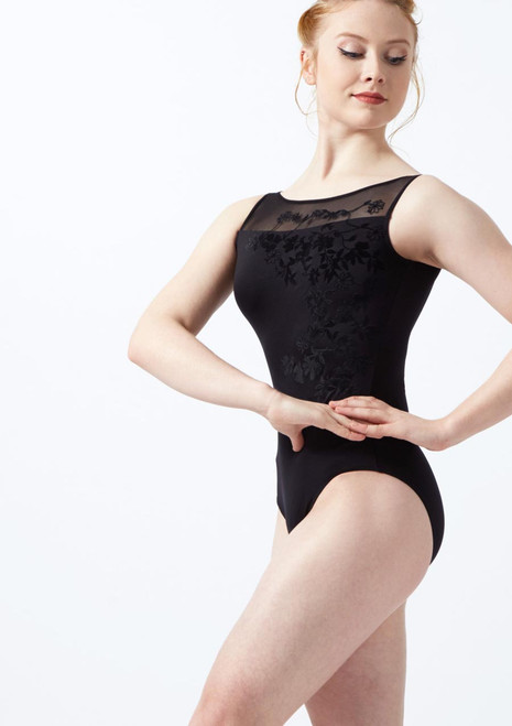 Maillot de malla y parra Ballet Rosa Negro frontal. [Negro]