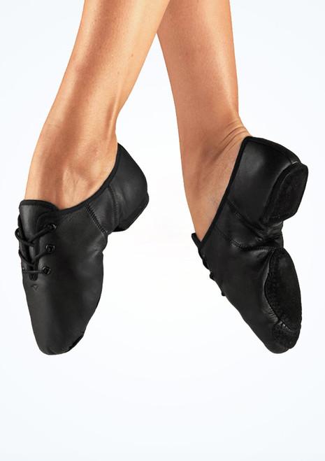 Alegra Zapato basico de Jazz con suela partida Negro frontal. [Negro]