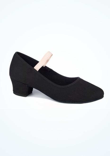 Zapato de caracter de lona con tacon cubano Julie Move Negro. [Negro]