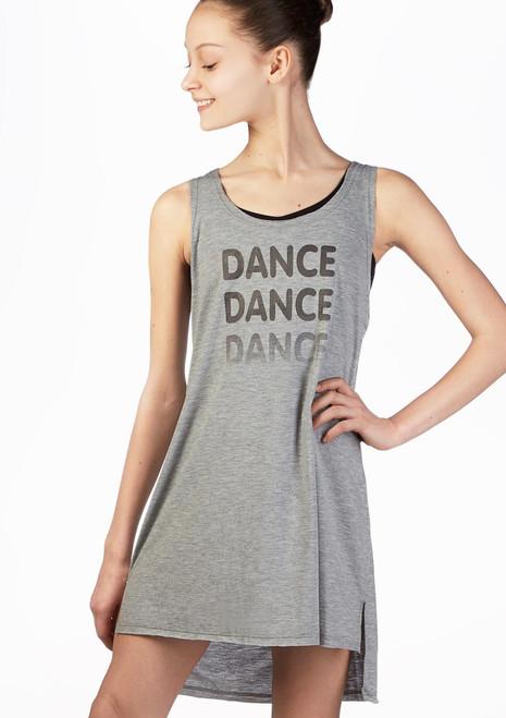 Vestido Danza Chica Recortado So Danca Gris frontal. [Gris]