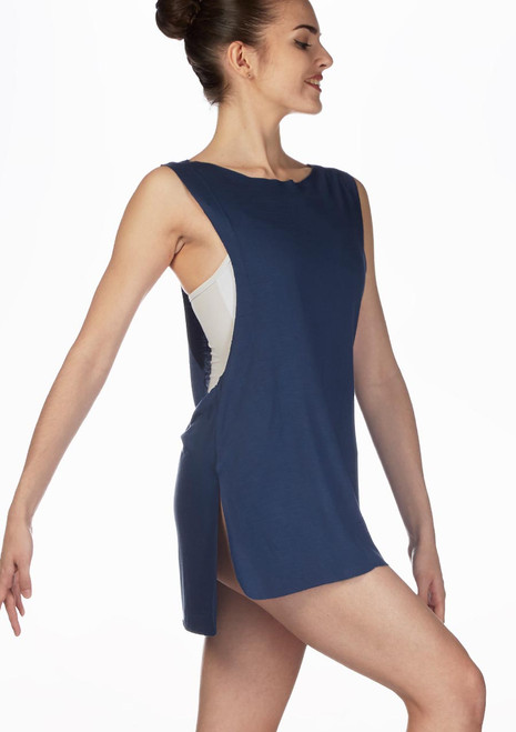 Camiseta tunica Cover-Up Ballet Rosa Gris frontal. [Gris]